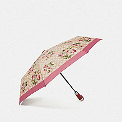 COACH F75786 Umbrella In Signature Lily Bouquet Print LIGHT KHAKI/ROSE PETAL/SILVER