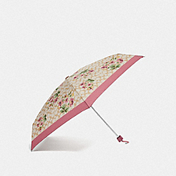 COACH F75788 Mini Umbrella In Signature Lily Bouquet Print LIGHT KHAKI/ROSE PETAL/SILVER