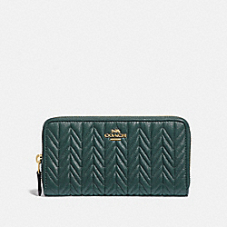 ACCORDION ZIP WALLET WITH QUILTING - F75802 - IM/EVERGREEN