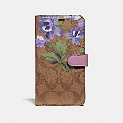 COACH F75843 Iphone Xr Folio In Signature Canvas With Lily Bouquet Print KHAKI/PURPLE