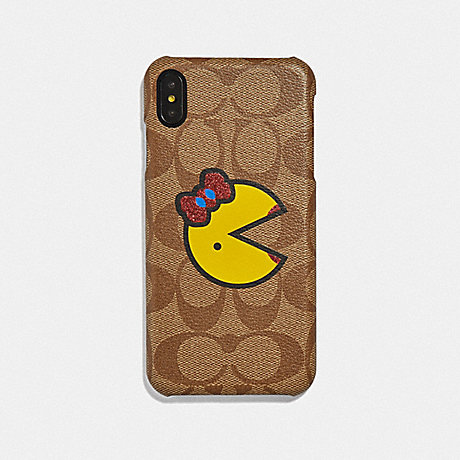 COACH IPHONE XS MAX IN SIGNATURE CANVAS WITH MS. PAC-MAN - KHAKI/YELLOW - F75846
