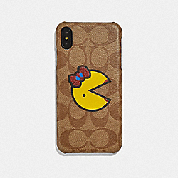 COACH F75846 Iphone Xs Max In Signature Canvas With Ms. Pac-man KHAKI/YELLOW