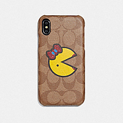 COACH F75847 - IPHONE XR CASE IN SIGNATURE CANVAS WITH MS. PAC-MAN KHAKI/YELLOW