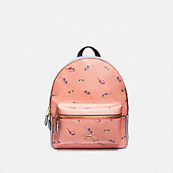 MEDIUM CHARLIE BACKPACK WITH SUNGLASSES PRINT - F75885 - LIGHT CORAL/MULTI/GOLD