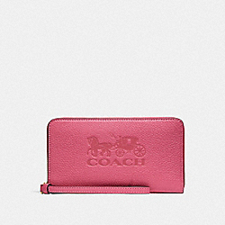 COACH F75908 - LARGE PHONE WALLET PINK RUBY/GOLD