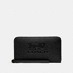 COACH F75908 Large Phone Wallet BLACK/GOLD