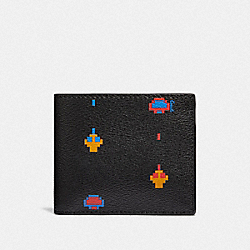 ID BILLFOLD WALLET WITH ALLOVER ATARI PRINT - F75910 - BLACK MULTI/BLACK ANTIQUE NICKEL