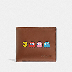 ID BILLFOLD WALLET WITH PAC-MAN MOTIF - F75911 - SADDLE/BLACK ANTIQUE NICKEL