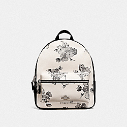 MEDIUM CHARLIE BACKPACK WITH FAIRY TALE FLORAL PRINT - F75917 - SILVER/CHALK MULTI