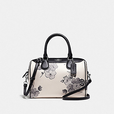 COACH F75918 MINI BENNETT SATCHEL WITH FAIRY TALE FLORAL PRINT SILVER/CHALK MULTI