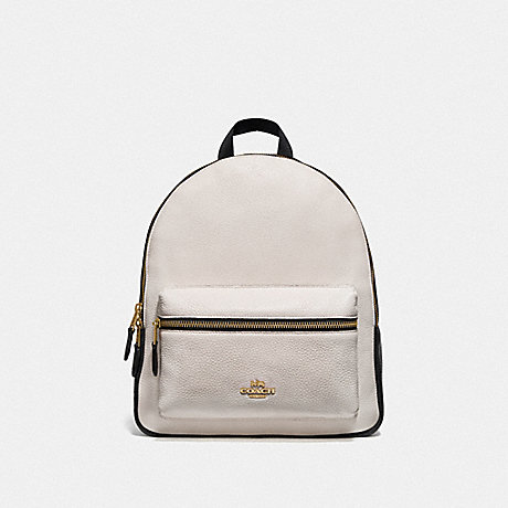 COACH F75919 MEDIUM CHARLIE BACKPACK IN COLORBLOCK GOLD/CHALK/BLACK