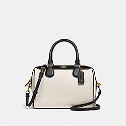 MINI BENNETT SATCHEL IN COLORBLOCK - F75920 - GOLD/CHALK/BLACK