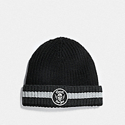 COACH F75940 - EMBROIDERED RIB KNIT HAT BLACK/HEATHER GREY