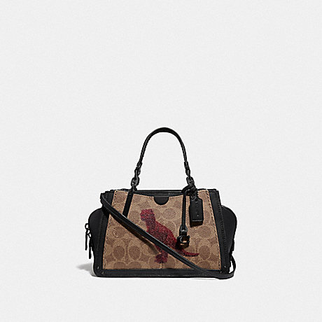 COACH F76011 DREAMER 21 IN SIGNATURE CANVAS WITH REXY BY SUI JIANGUO V5/TAN-BLACK