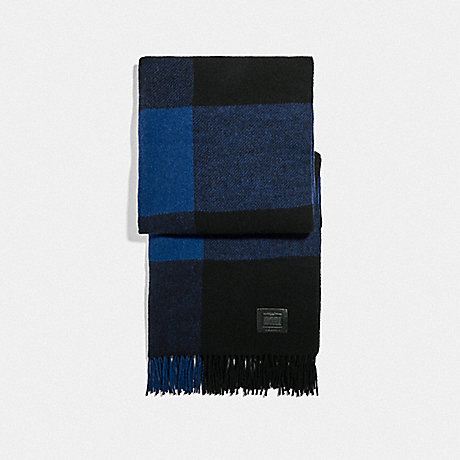COACH F76058 BIG PLAID PRINT SCARF DARK BLUE