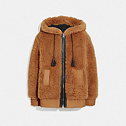 LONG FAUX SHEARLING MIX HOODIE - F76257 - DARK OAK BROWN