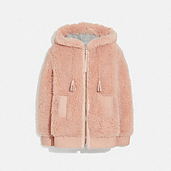 COACH F76257 Long Faux Shearling Mix Hoodie QUARTZ