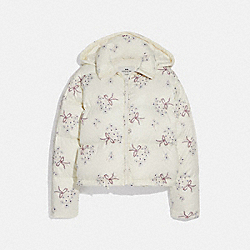 COACH F76318 - FLORAL PRINT SHORT PUFFER CREAM MULTI