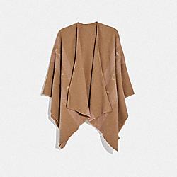 COACH F76392 - VARSITY STRIPE PONCHO CAMEL