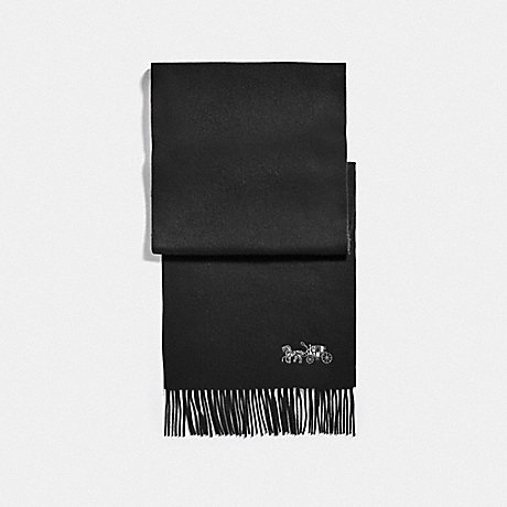 COACH F76393 EMBROIDERED HORSE AND CARRIAGE CASHMERE MUFFLER BLACK