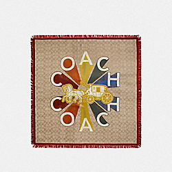 COACH RADIAL RAINBOW SILK SQUARE SCARF - F76438 - LIGHT KHAKI