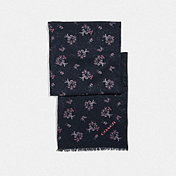 COACH F76448 - GLITTER RIBBON BOUQUET PRINT OBLONG SCARF BLACK/PINK