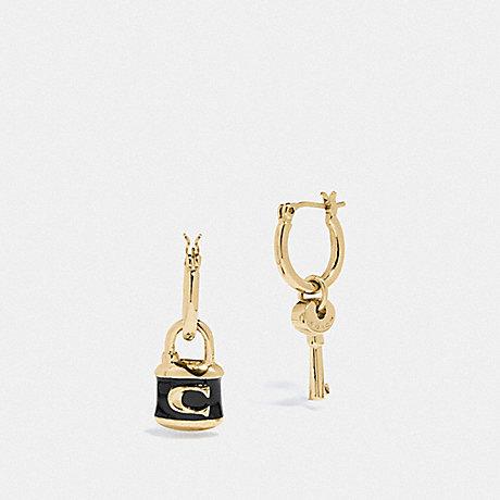 COACH F76462 LOCK AND KEY HUGGIE EARRINGS GOLD