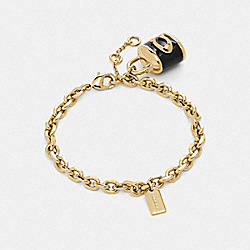 COACH F76463 Lock Charm Bracelet BLACK/GOLD