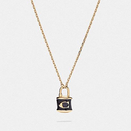 COACH F76464 LOCK PENDANT NECKLACE BLACK/GOLD
