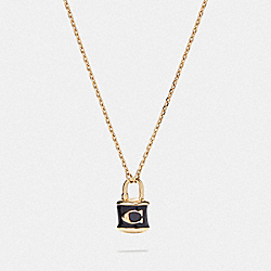 LOCK PENDANT NECKLACE - F76464 - BLACK/GOLD