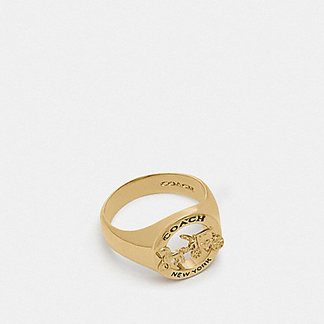 COACH F76465 HORSE AND CARRIAGE SIGNET RING GOLD