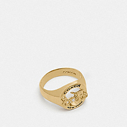 COACH F76465 - HORSE AND CARRIAGE SIGNET RING GOLD