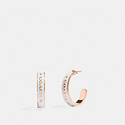 COACH F76468 - COACH PLAQUE HOOP EARRINGS CHALK/ROSEGOLD