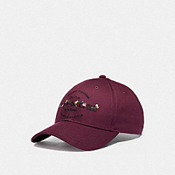 COACH HUDSON FLORAL HAT - F76471 - BURGUNDY