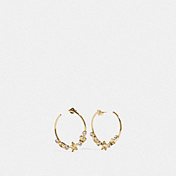 COACH F76485 Floral Star Hoop Earrings GOLD