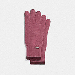 COACH F76490 - COLORBLOCKED KNIT TECH GLOVES PINK