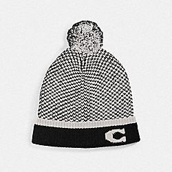 COACH F76492 Colorblocked Knit Hat With Pom Pom BLACK