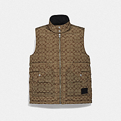 COACH F76505 - ALLOVER SIGNATURE DOWN VEST KHAKI/BLACK