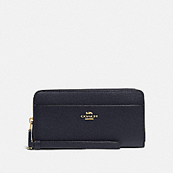 COACH F76517 Accordion Zip Wallet MIDNIGHT/GOLD