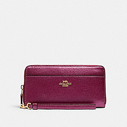 COACH F76517 - ACCORDION ZIP WALLET IM/METALLIC BERRY