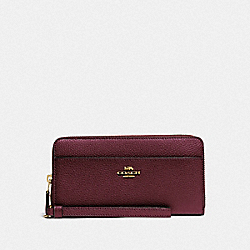 COACH F76517 Accordion Zip Wallet IM/METALLIC WINE