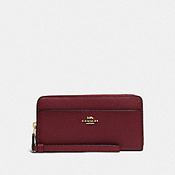 COACH F76517 Accordion Zip Wallet IM/WINE