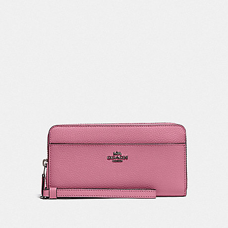 COACH F76517 ACCORDION ZIP WALLET QB/PINK ROSE