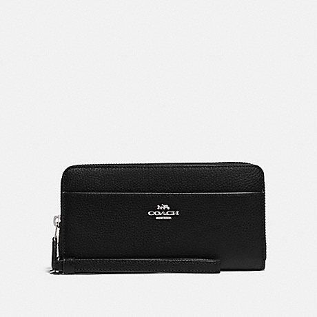 COACH F76517 ACCORDION ZIP WALLET BLACK/SILVER