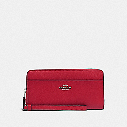 COACH F76517 - ACCORDION ZIP WALLET BRIGHT CARDINAL/SILVER