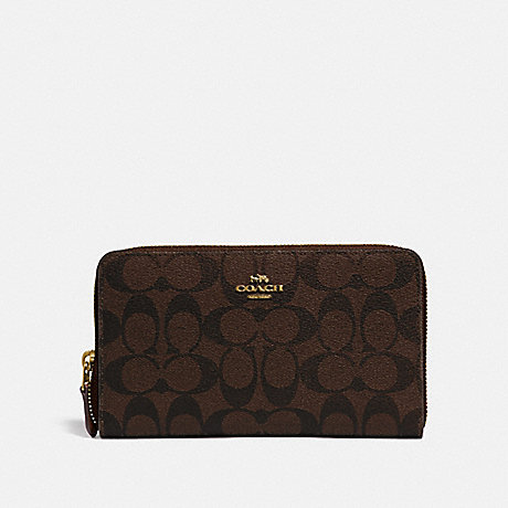 COACH F76579 CONTINENTAL ZIP AROUND WALLET IN SIGNATURE CANVAS BROWN/BLACK/GOLD