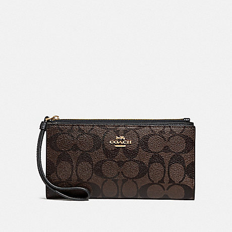 COACH F76580 LONG WALLET IN SIGNATURE CANVAS BROWN/BLACK/GOLD