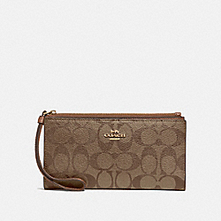 COACH F76580 Long Wallet In Signature Canvas KHAKI/SADDLE 2/GOLD