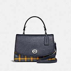 TILLY TOP HANDLE SATCHEL WITH GINGHAM PRINT - F76615 - NAVY YELLOW MULTI/SILVER