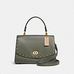 TILLY TOP HANDLE SATCHEL IN SIGNATURE LEATHER WITH RIVETS - F76616 - MILITARY GREEN/GOLD